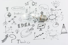 Hand drawn business icon ideas and Light bulb Royalty Free Stock Photos