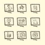Hand drawn business icon set Royalty Free Stock Images