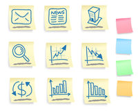Hand drawn business icon set. On post it notes (five colorful version vector illustration