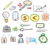 Hand drawn of business icons Royalty Free Stock Images