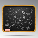 Hand drawn business icons on blackboard Royalty Free Stock Image