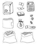 Hand drawn business icons Stock Image