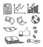 Hand drawn business icons Royalty Free Stock Photos
