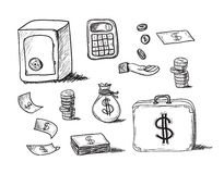 Hand drawn business icons Stock Images
