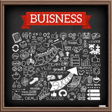 Hand drawn business icons set. With arrows, diagrams, puzzle pieces, thumbs up and more.  Chalkboard effect. Vector Illustration Stock Photo