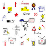 Hand drawn business icons set. Set of business icons made in fun doodle way Royalty Free Stock Image
