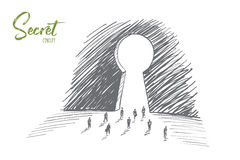 Hand drawn business people going to big keyhole. Vector hand drawn secret concept sketch with business people going towards huge keyhole and lettering stock illustration