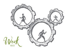 Hand drawn business people running in cogwheels. Vector hand drawn work concept sketch with business people running inside of cogwheels and lettering Stock Photo