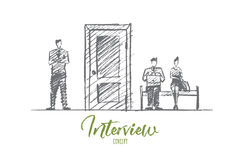 Hand drawn business people waiting for interview Stock Photos