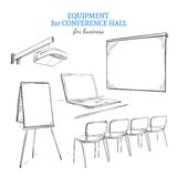 Hand Drawn Business Presentation Equipment Set Royalty Free Stock Photography