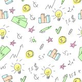 Hand drawn business seamless pattern with financial doodle sketch elements. Arrow, graph, chart, tool. Vector illustration Royalty Free Stock Photography