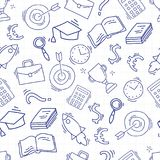 Hand drawn business seamless pattern. Sketch background with icons. Doodle illustration. Wallpaper with elements and objects. Vector illustration. Back to Royalty Free Stock Images