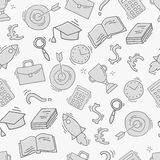 Hand drawn business seamless pattern. Sketch background with icons. Monochrome doodle illustration. Wallpaper with elements and objects. Vector illustration Royalty Free Stock Photo