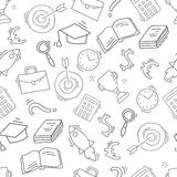 Hand drawn business seamless pattern. Sketch background with icons. Monochrome doodle illustration. Wallpaper with elements and objects. Vector illustration Stock Images