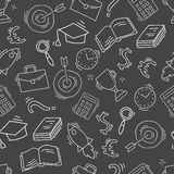 Hand drawn business seamless pattern. Sketch background with icons. Monochrome doodle illustration. Wallpaper with elements and objects. Vector illustration Royalty Free Stock Image