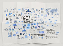 Hand drawn business strategy on crumpled paper Royalty Free Stock Photography