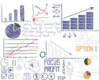 Hand drawn businesses analytic elements Royalty Free Stock Image