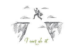 Hand drawn businessman jumping between rocks. Vector hand drawn I can do it motivational concept sketch. Businessman jumping from one rock to another above gap Royalty Free Stock Images