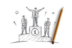 Hand drawn businessman standing on the first place. Vector hand drawn businessman number one concept sketch. Happy businessman standing on the first place of Royalty Free Stock Photos