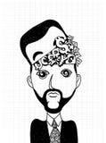 Hand drawn Businessman  thinking Money Royalty Free Stock Image