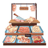 Hand Drawn Butcher Shop Concept. With knife and different chicken meat parts on counter vector illustration Royalty Free Stock Photo