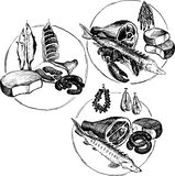 Hand drawn butcher shop symbols Stock Photography