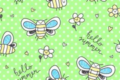 Hand drawn butterflies seamless pattern Stock Photos
