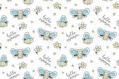 Hand drawn butterflies seamless pattern Stock Photo