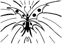 Beautiful Butterfly shines bright. Hand drawn butterfly, beautiful in its own simplicity. Black and white Stock Photography