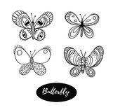 Hand drawn butterfly logo design collection. Vector elements isolated on the white background. Stock Image