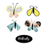 Hand drawn butterfly logo design collection. Vector elements. Stock Photo