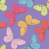 Hand drawn butterfly seamless pattern. Vector illustration Stock Photos