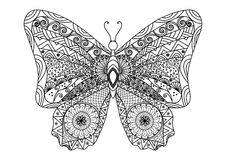 Hand drawn butterfly zentangle style for coloring book Royalty Free Stock Photos