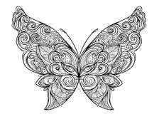 Hand drawn butterfly zentangle for t-shirt design or tattoo. Col Royalty Free Stock Photo