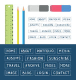 Hand drawn buttons. Template for design websites, apps and interface. Royalty Free Stock Photo