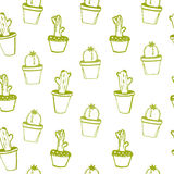 Hand drawn cactus doodles pattern. Green vector Royalty Free Stock Image