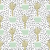 Hand Drawn Cactus In Pot Seamless Pattern. Doodle Exotic Wallpaper. Cacti Vector Backdrop Royalty Free Stock Photography