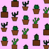 Hand drawn cactus pattern Stock Photos
