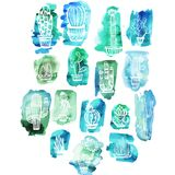 Cactuses on the Watercolor background Royalty Free Stock Photography