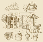 Hand drawn cafe Royalty Free Stock Photos