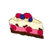 Hand drawn cake with raspberry Royalty Free Stock Photo