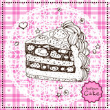 Hand drawn Cake. Vector illustration. Royalty Free Stock Images