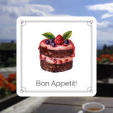 Hand drawn cake with watercolor texture. Royalty Free Stock Image
