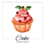 Hand drawn cake with watercolor texture. Stock Image