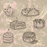 Hand drawn cakes Stock Image