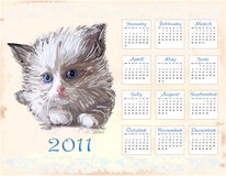 Hand drawn calendar 2011. With fluffy kitten Stock Photography