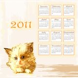 Hand drawn calendar 2011. With lying ginger kitten Royalty Free Stock Image