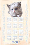 Hand drawn calendar 2011. With fluffy kitten Royalty Free Stock Image