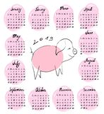 Hand-drawn calendar for 2019 with vector illustration