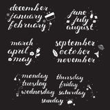 Hand drawn Calendar Set. Royalty Free Stock Images